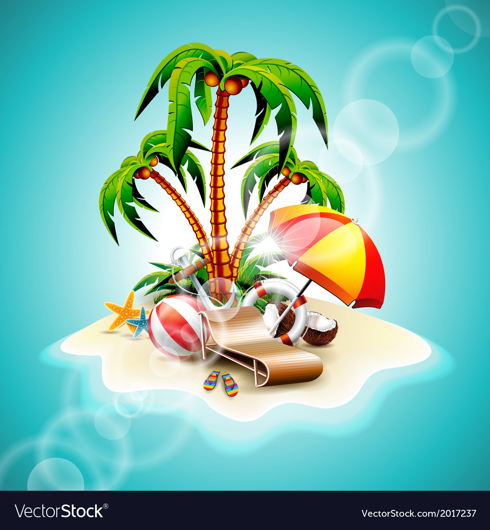 Summer holiday paradise island on sea background vector | Price: 3 Credit (USD $3)