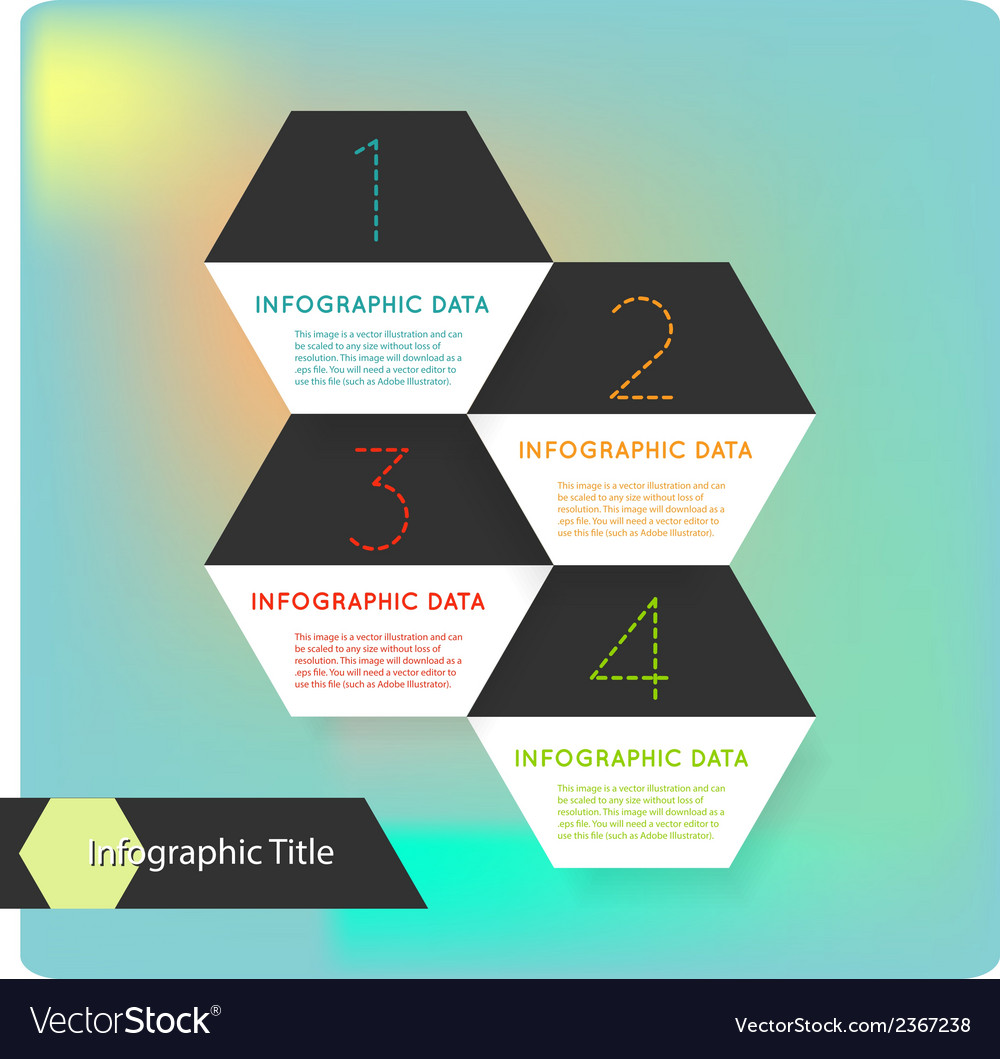 Abstract flat hexagon infographics options banner vector | Price: 1 Credit (USD $1)