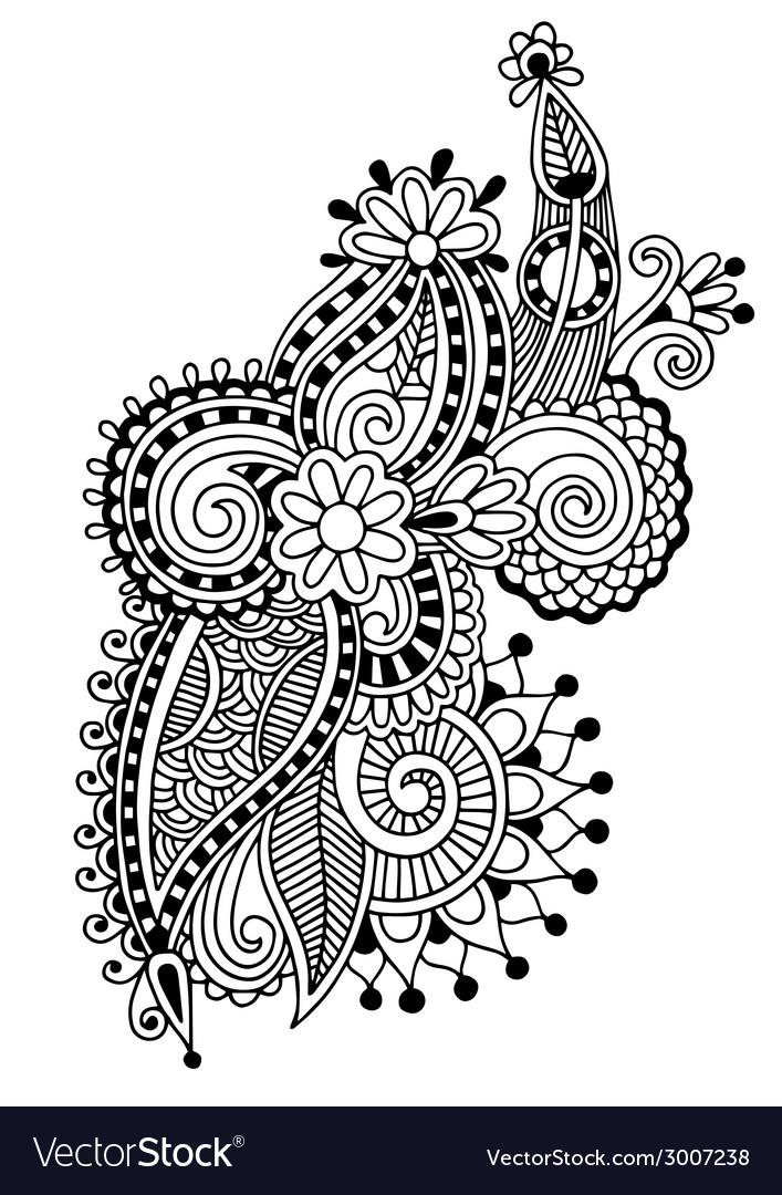 Black line art ornate flower design vector   Price: 1 Credit (USD $1)
