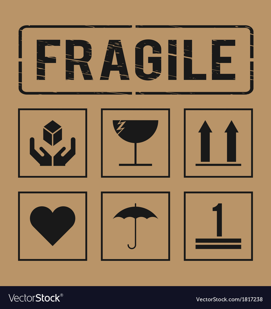 Fragile signs vector | Price: 1 Credit (USD $1)