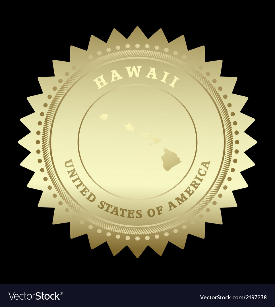 Gold star label hawaii vector | Price: 1 Credit (USD $1)