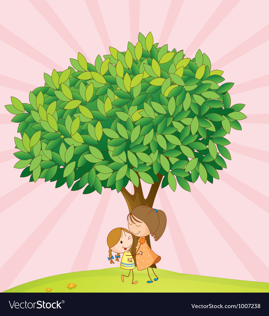 Kids playing under tree vector | Price: 3 Credit (USD $3)