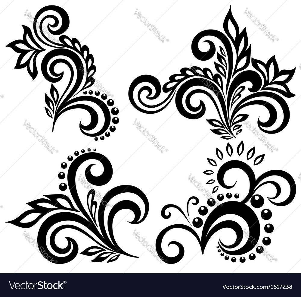 Set of black and white floral elements vector | Price: 1 Credit (USD $1)
