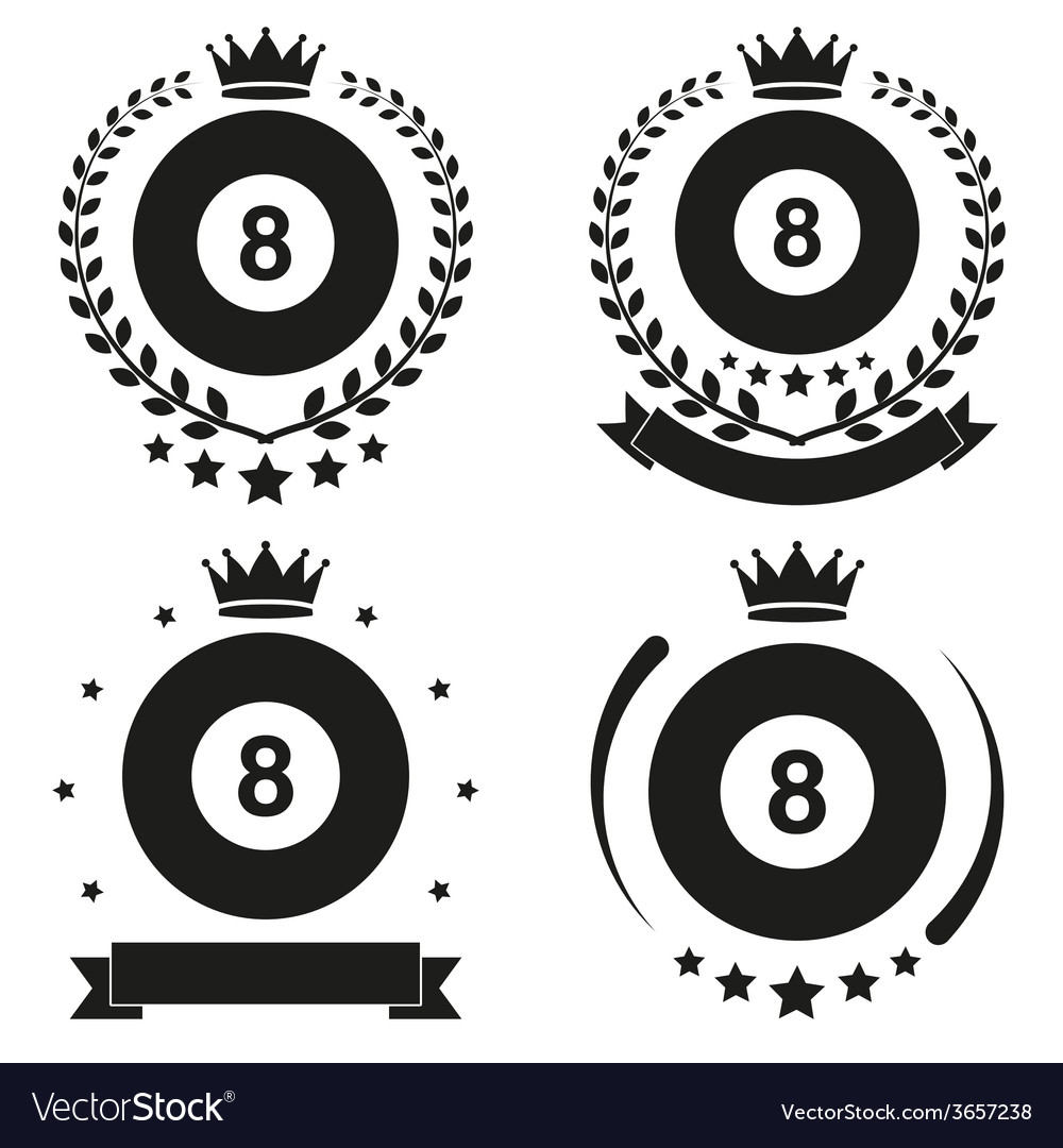 Set of vintage billiard club badge and label vector | Price: 1 Credit (USD $1)