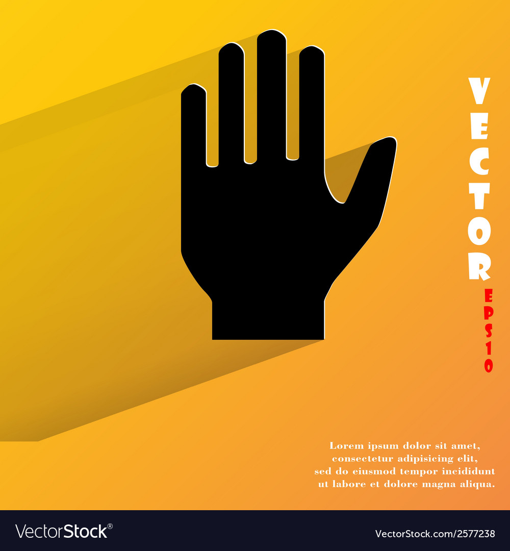 Stop hand flat modern web button with long shadow vector | Price: 1 Credit (USD $1)