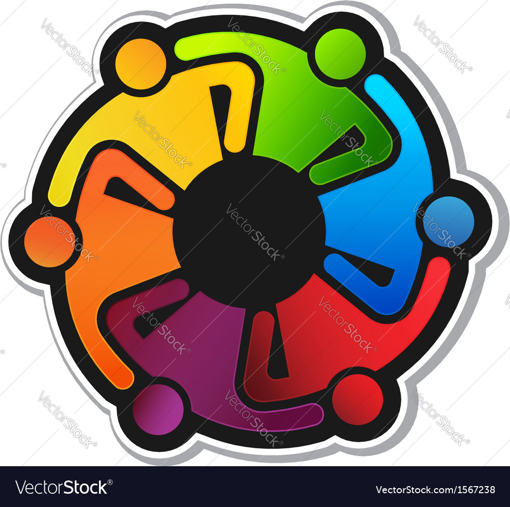 Teamwork hug 6 logo vector | Price: 1 Credit (USD $1)
