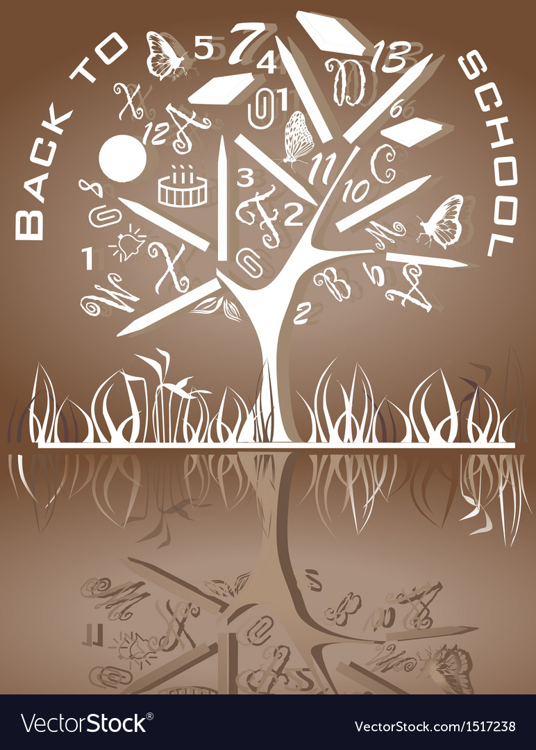 Tree shaped made of back to school icons vector | Price: 1 Credit (USD $1)