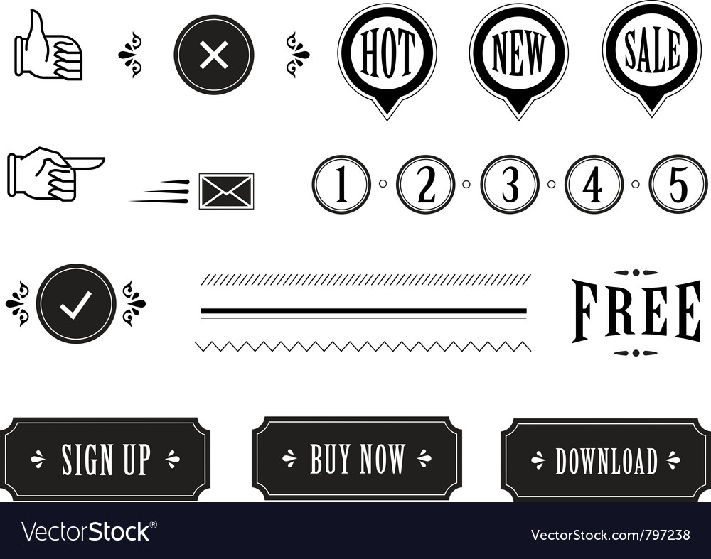 Vintage icons vector | Price: 1 Credit (USD $1)