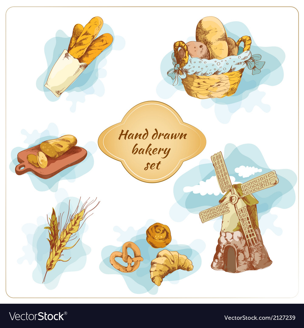 Bakery hand drawn decorative elements set vector | Price: 1 Credit (USD $1)