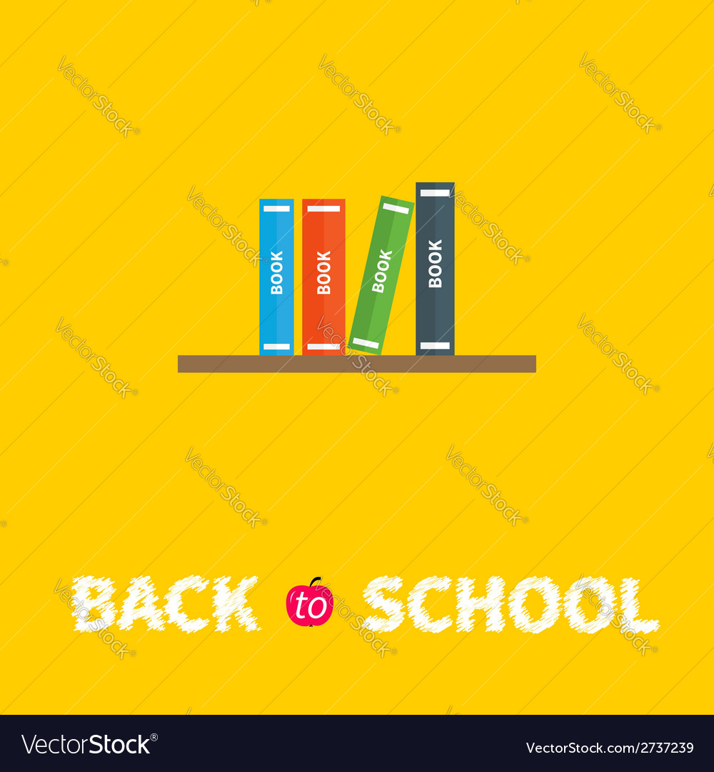 Book shelf with four books back to school flat vector | Price: 1 Credit (USD $1)