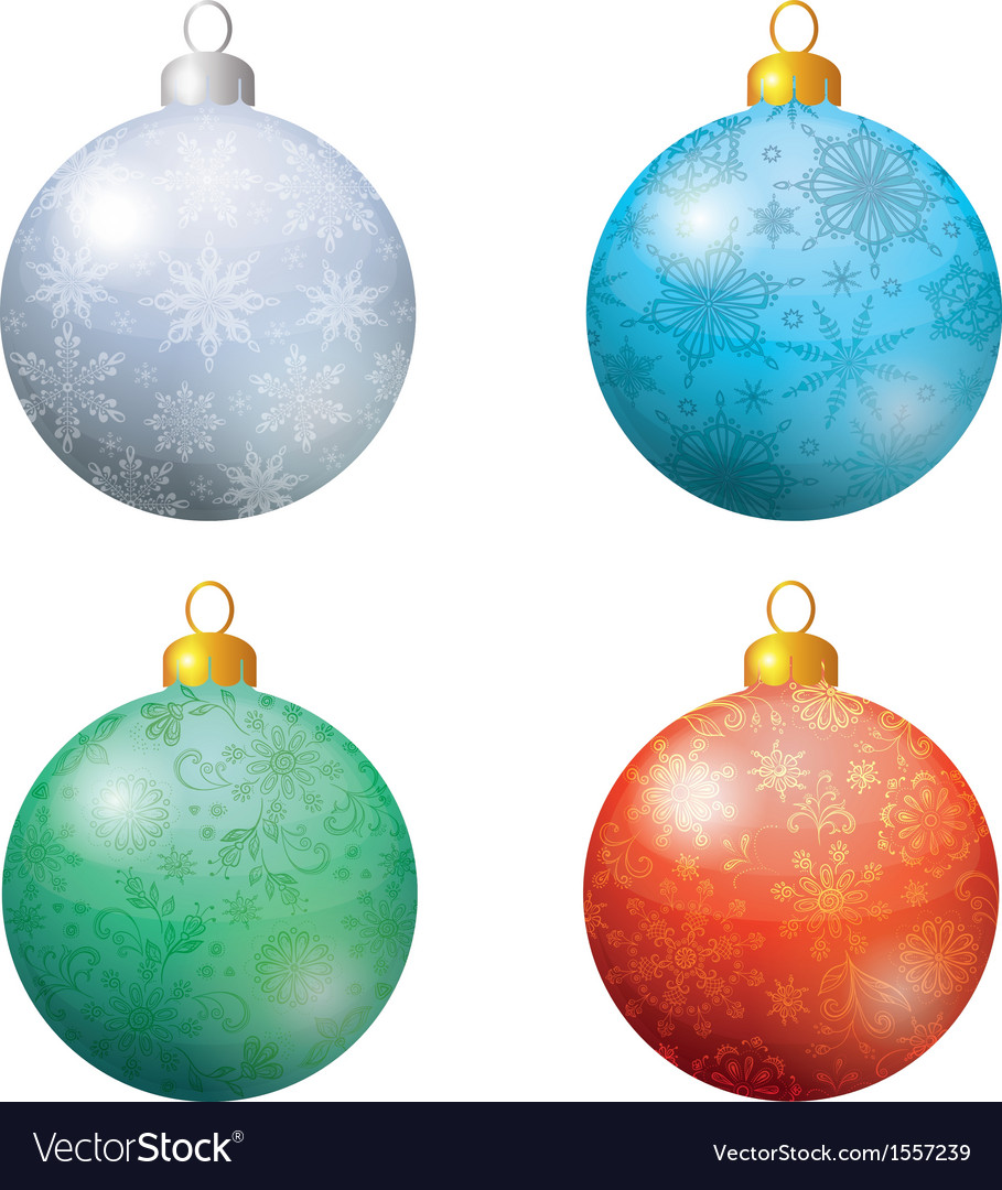 Christmas decoration set balls vector | Price: 1 Credit (USD $1)
