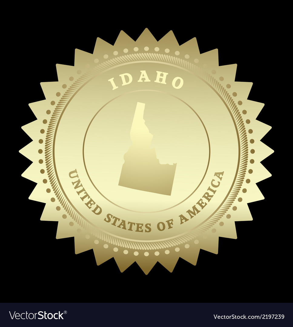 Gold star label idaho vector | Price: 1 Credit (USD $1)