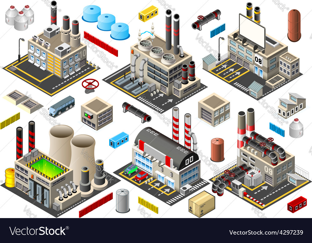 Isometric building factory set vector | Price: 3 Credit (USD $3)
