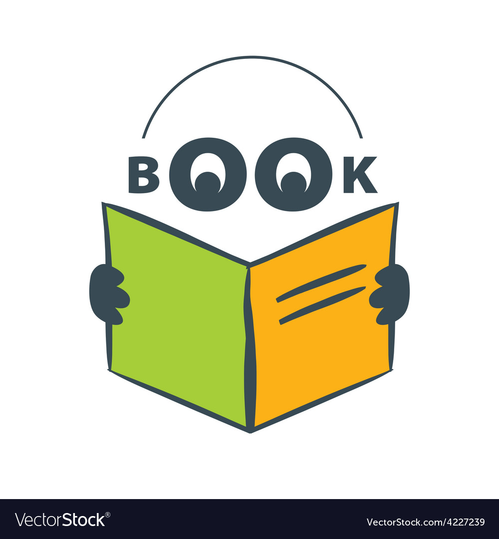 Logo character with headphones reading a book vector | Price: 1 Credit (USD $1)