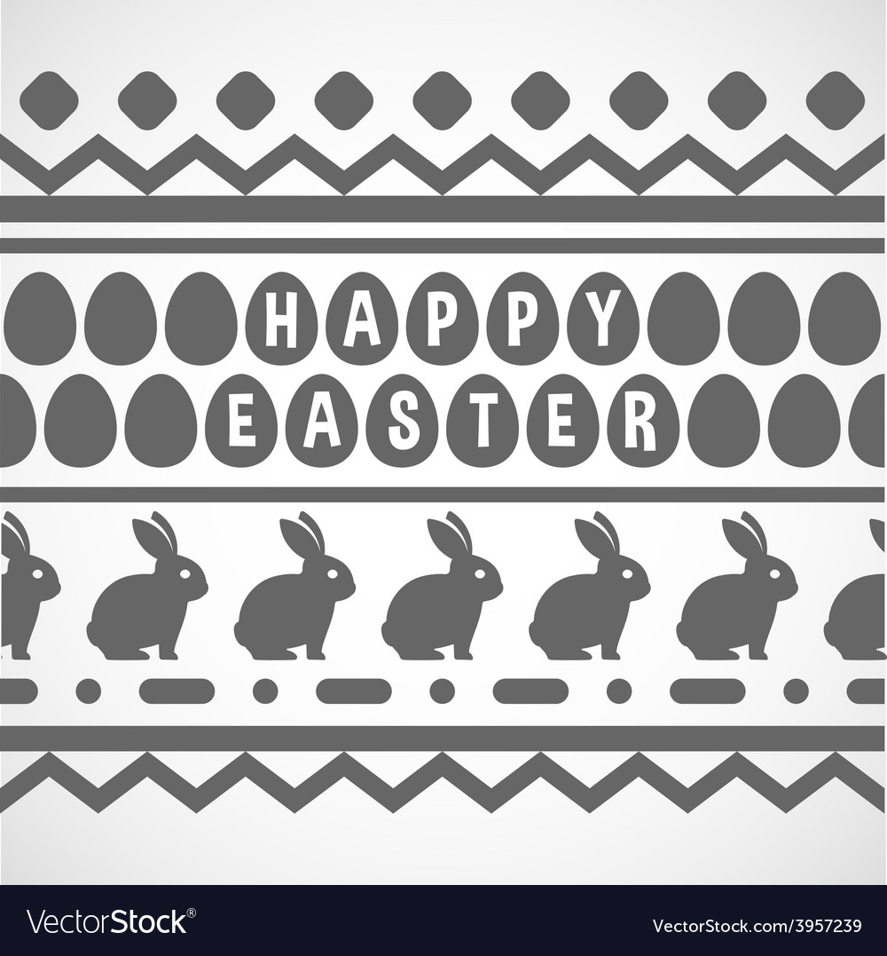 Pattern with waves rabbits and eggs vector | Price: 1 Credit (USD $1)