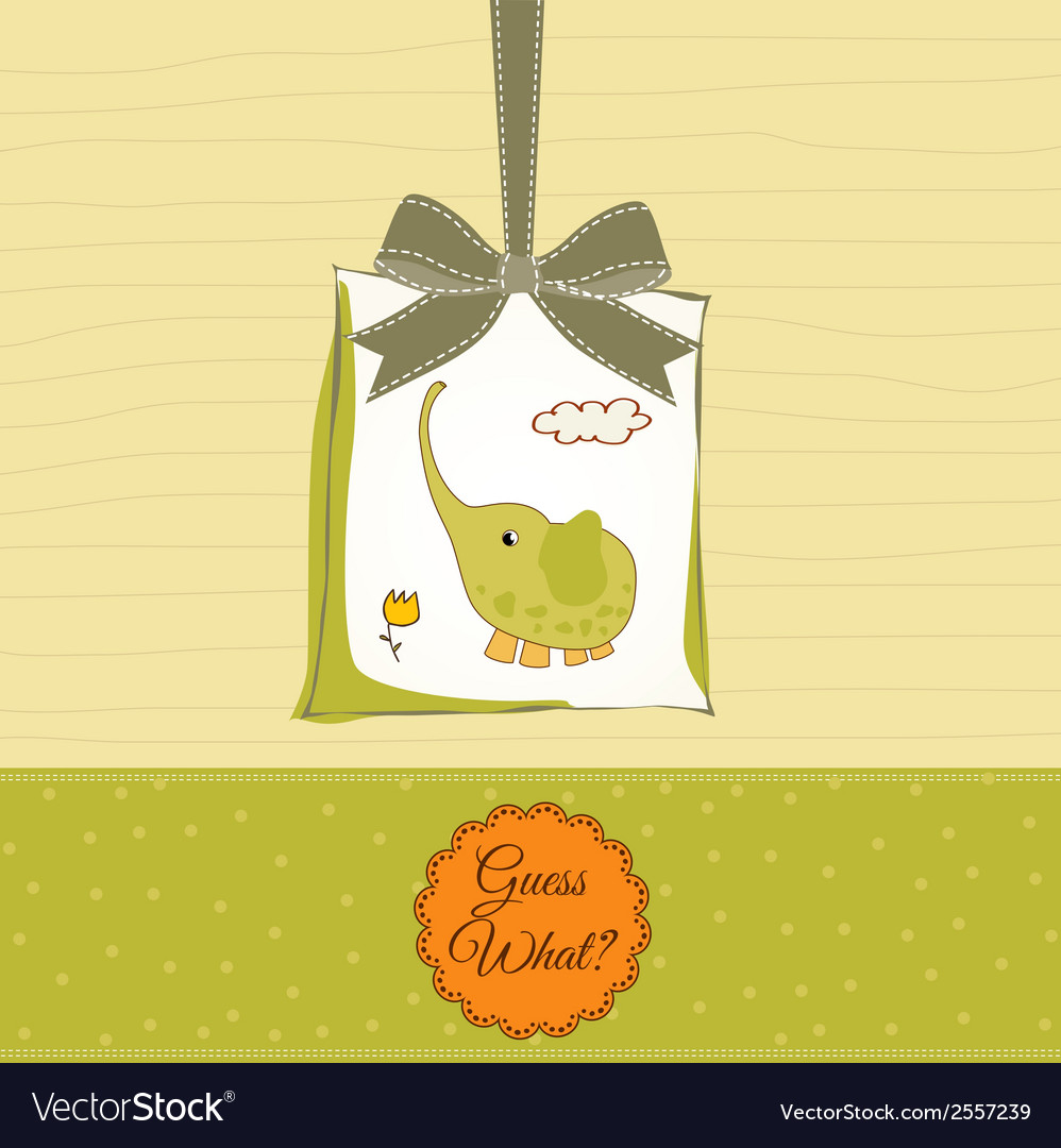 Romantic baby announcement card vector | Price: 1 Credit (USD $1)