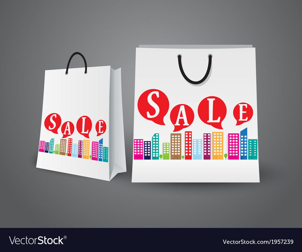 Sale design with shopping bags vector | Price: 1 Credit (USD $1)