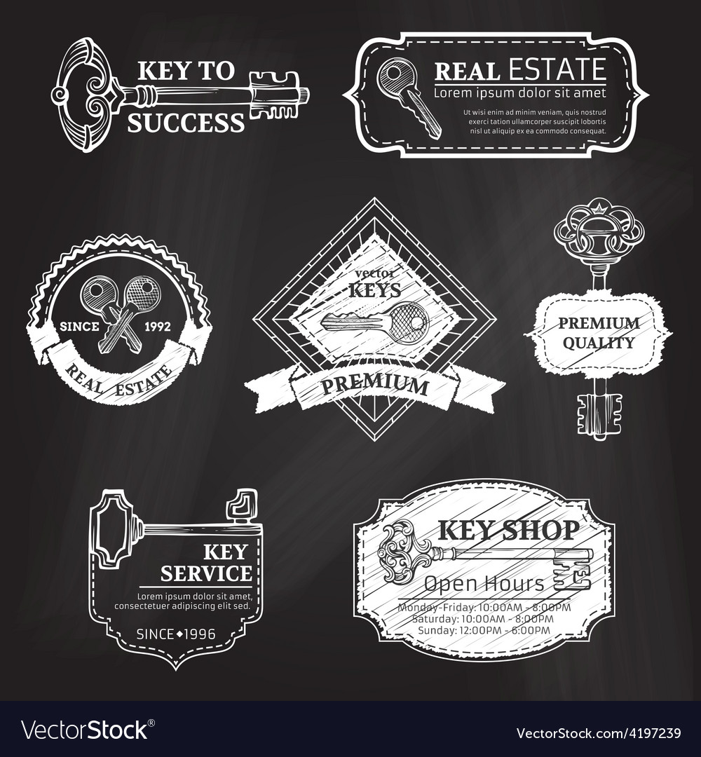 Set of chalk badges labels logo templates and vector | Price: 1 Credit (USD $1)