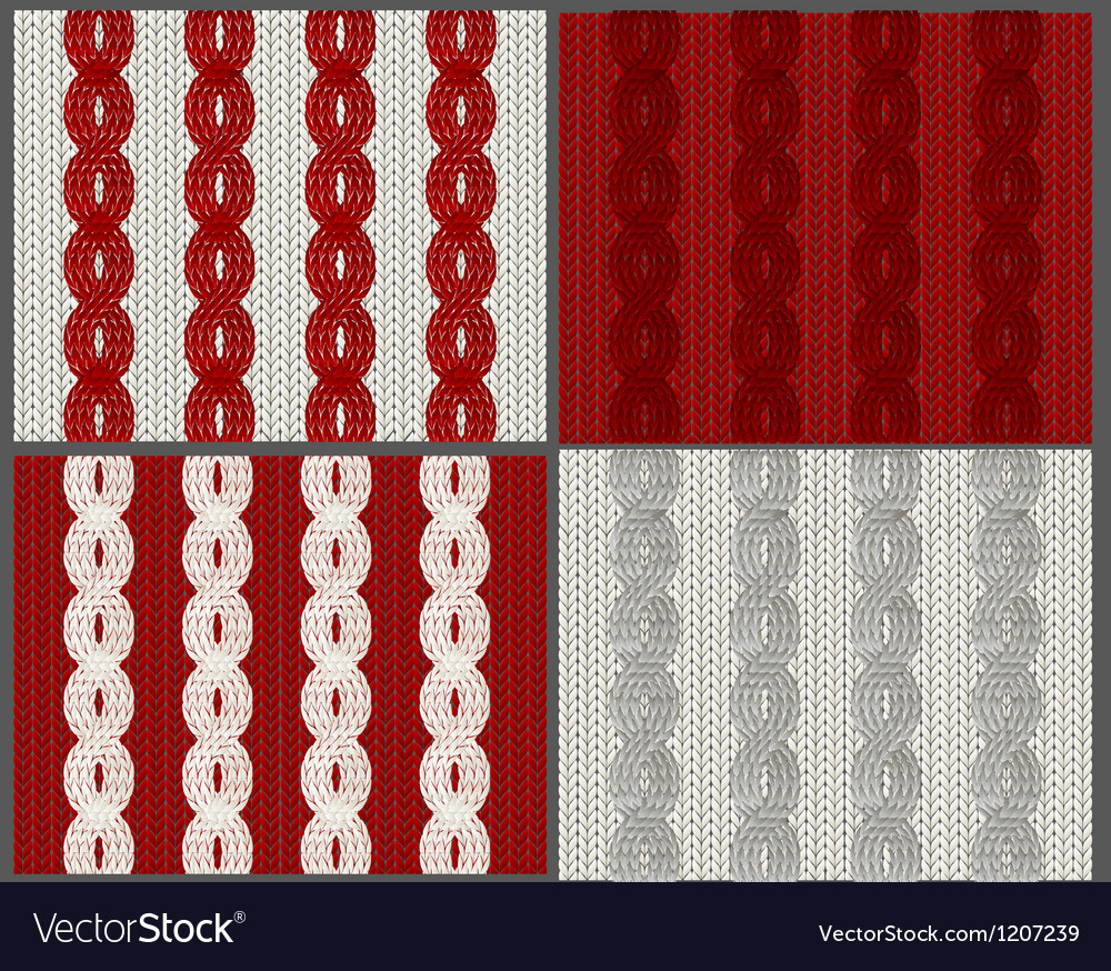 Set of knitted swatches with braids vector | Price: 1 Credit (USD $1)