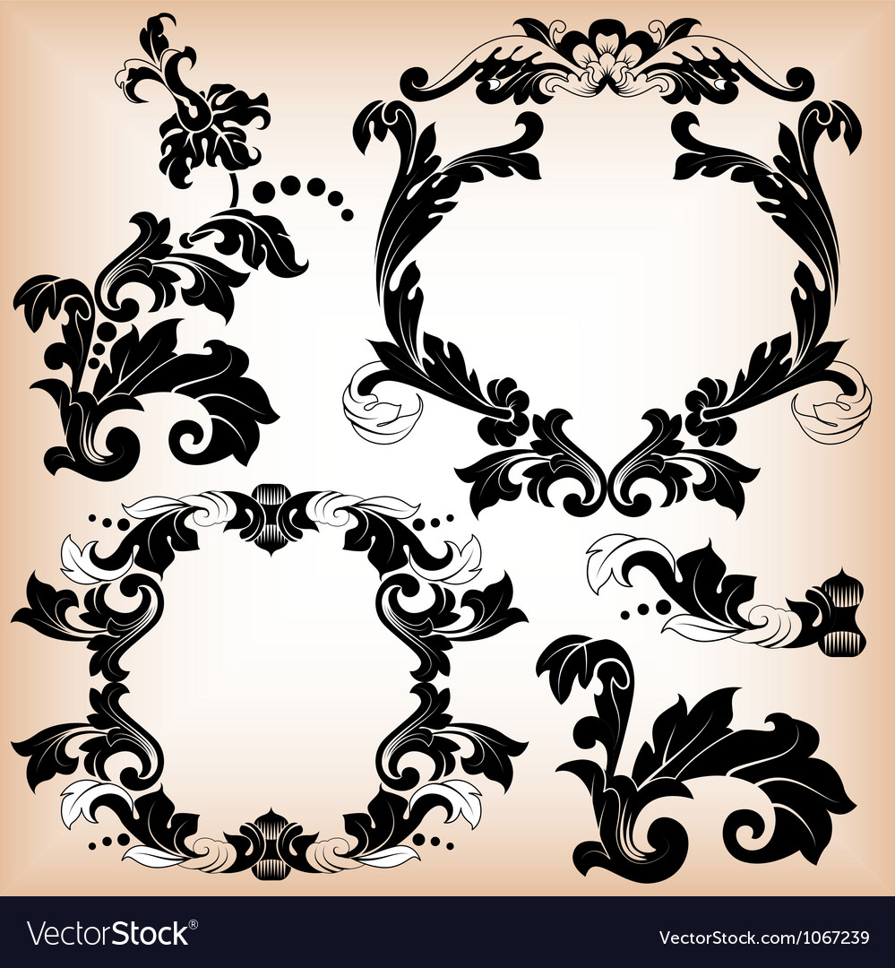 Stylized floral pattern and frame vector | Price: 1 Credit (USD $1)