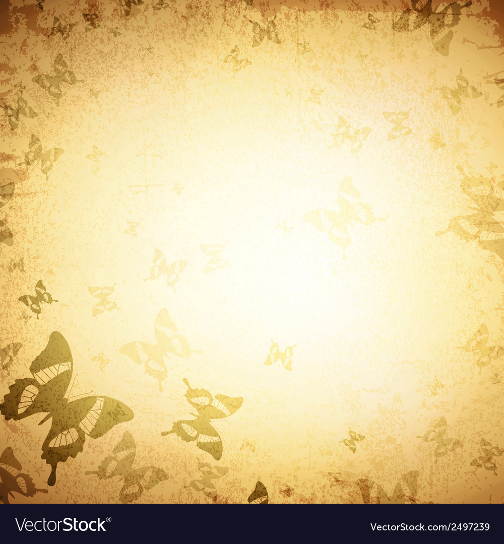 Vintage butterfly grunge background vector | Price: 1 Credit (USD $1)