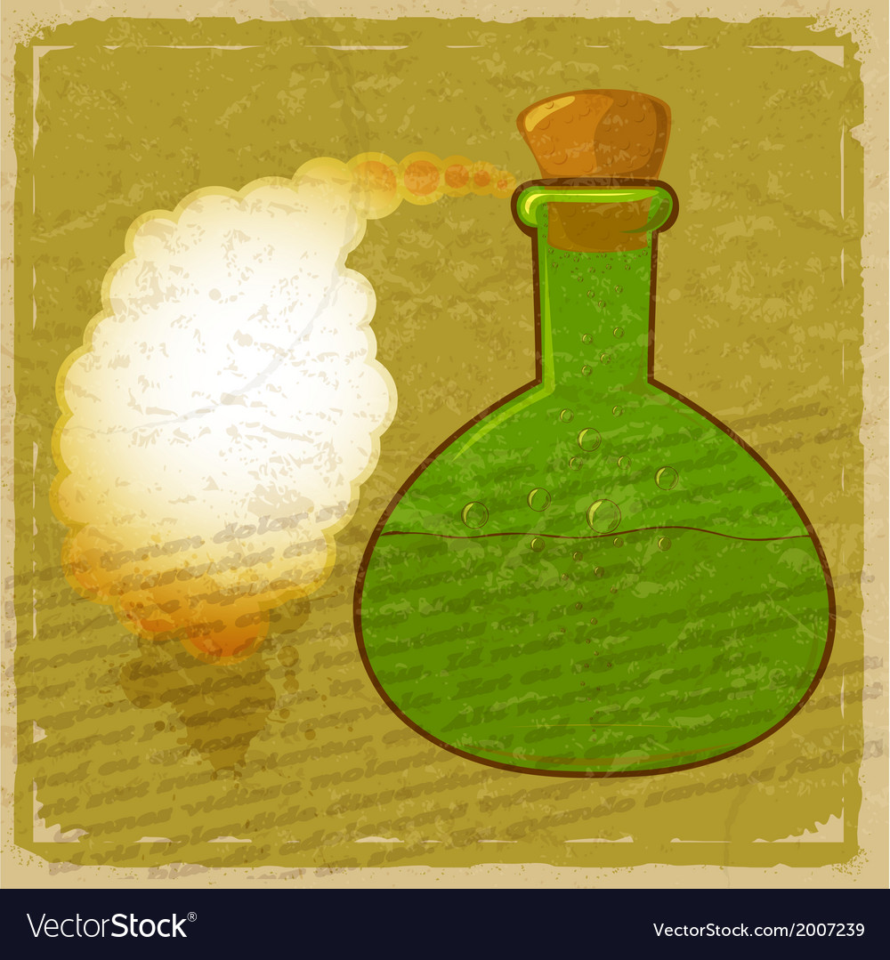 Vintage card with a picture green bottle of poison vector | Price: 1 Credit (USD $1)