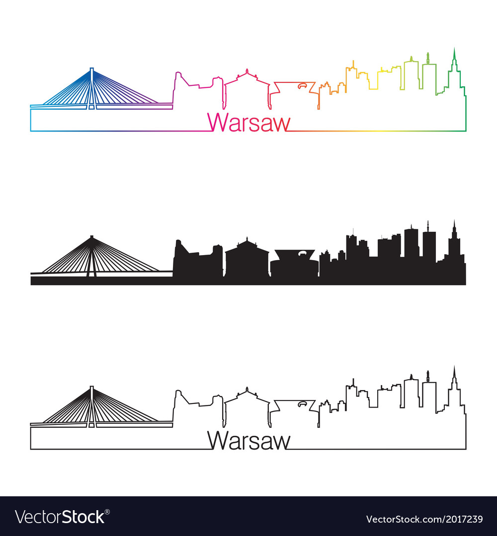 Warsaw skyline linear style with rainbow vector | Price: 1 Credit (USD $1)