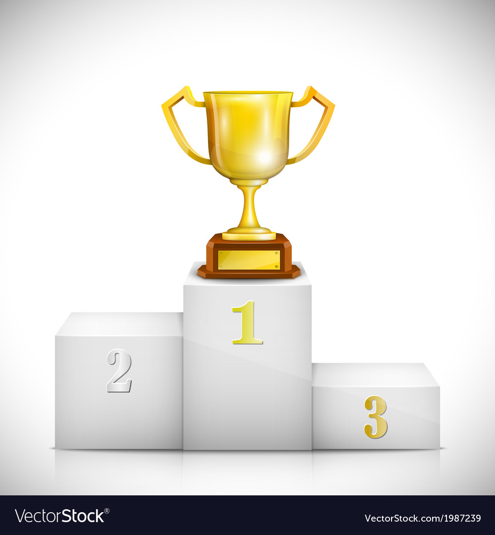 Winner pedestal with gold trophy cup vector | Price: 1 Credit (USD $1)
