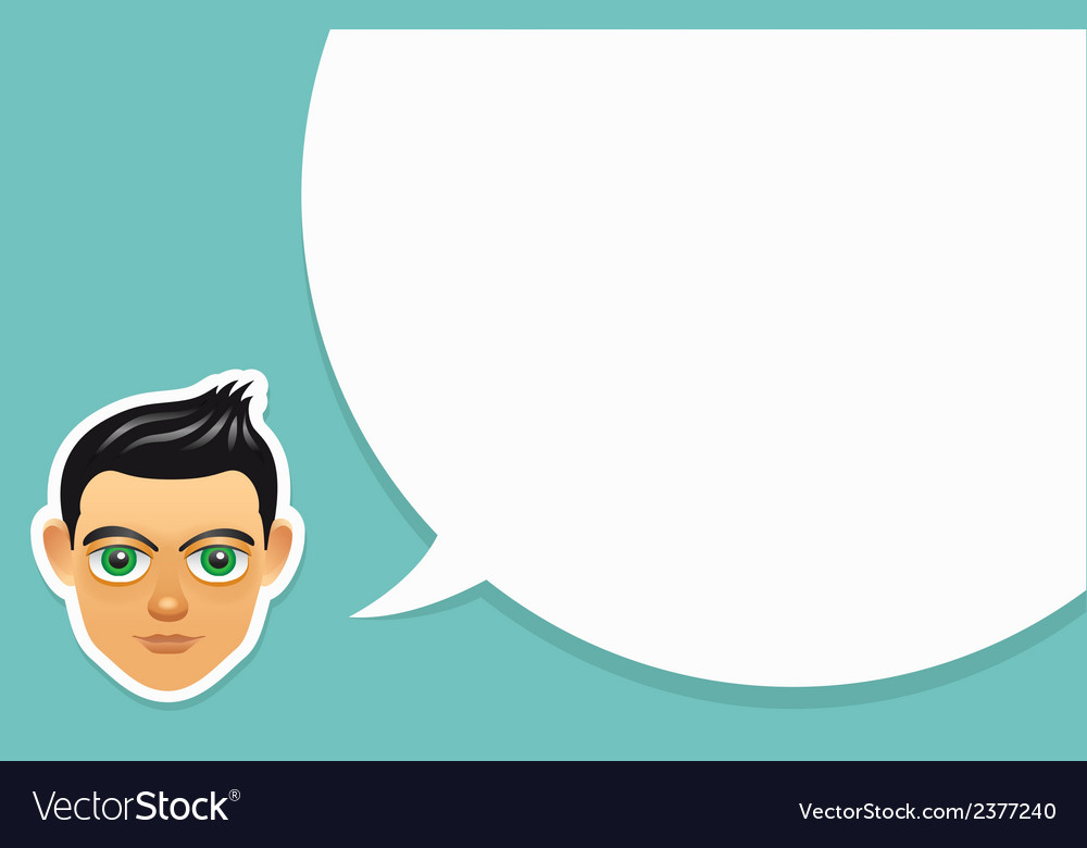 Boy face with speech bubble vector | Price: 1 Credit (USD $1)