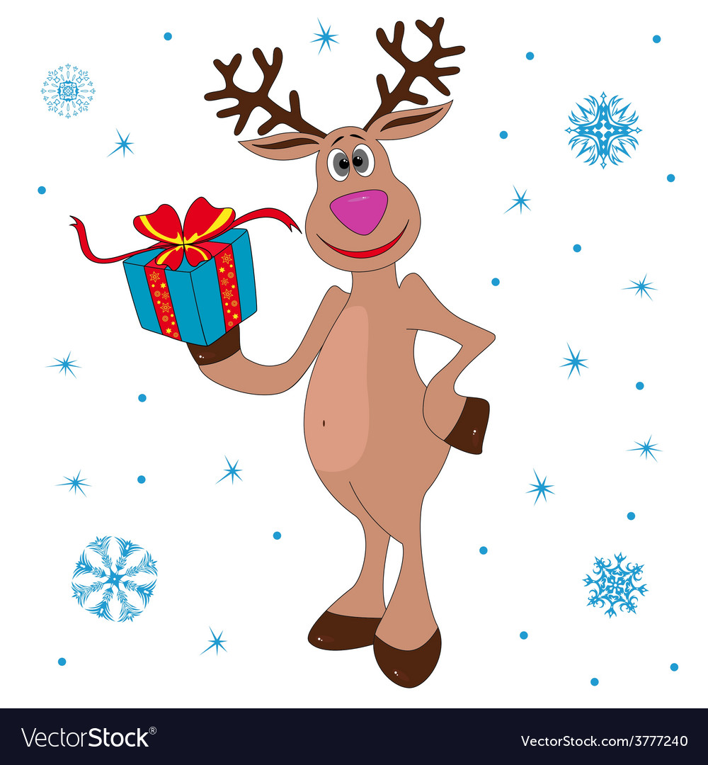 Christmas reindeer holding a gift vector | Price: 1 Credit (USD $1)