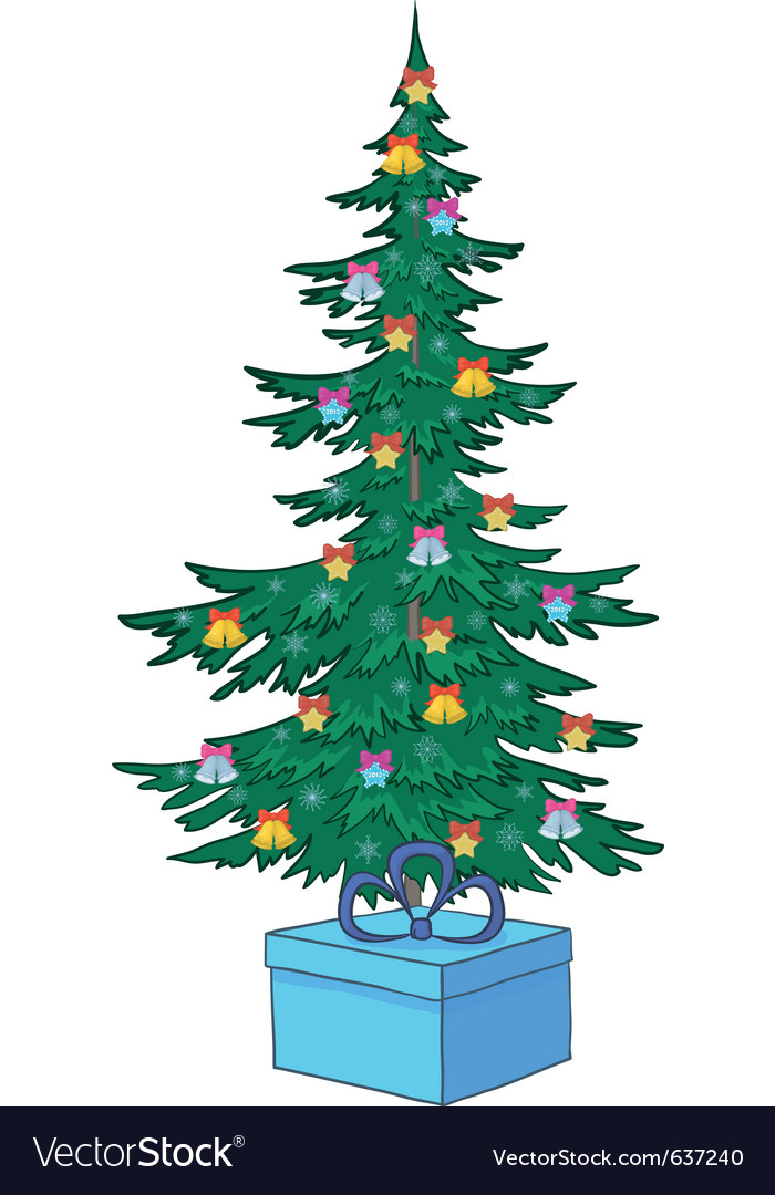 Christmas tree with ornaments vector | Price: 1 Credit (USD $1)