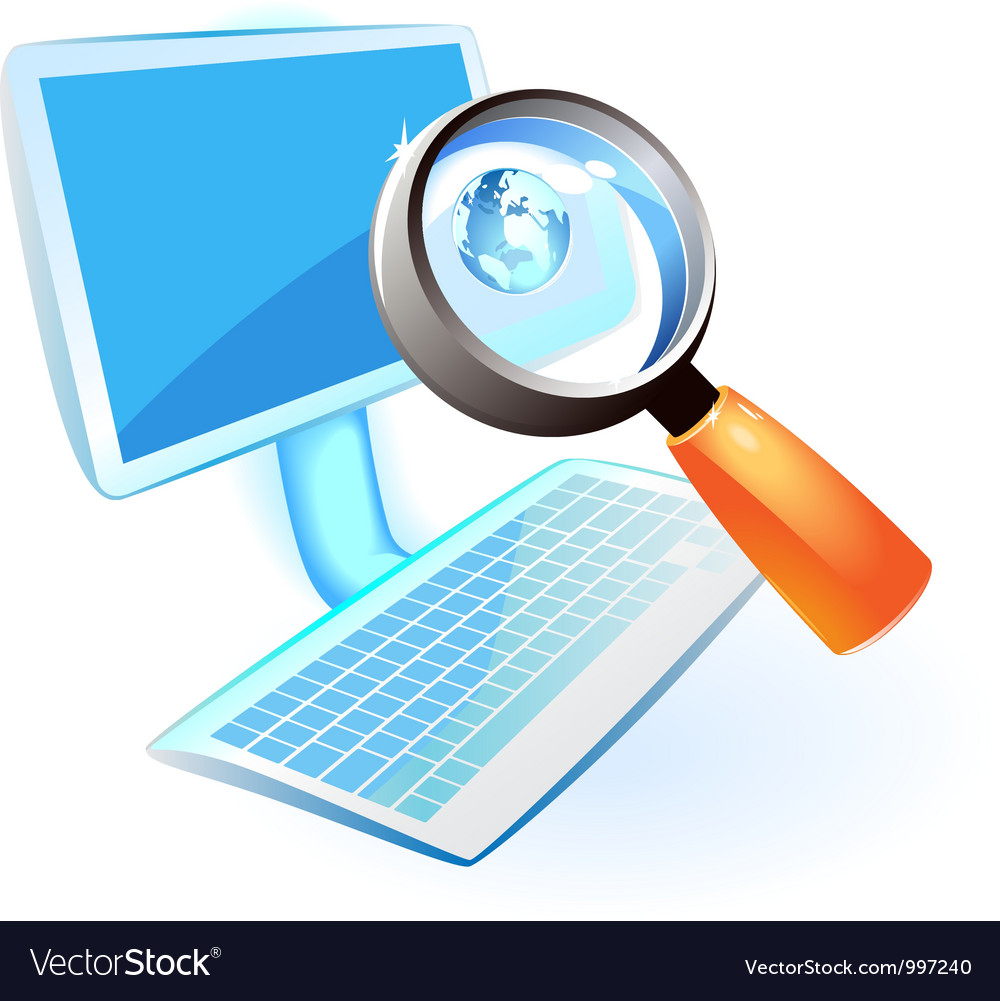 Computer with blue globe and lens vector | Price: 1 Credit (USD $1)