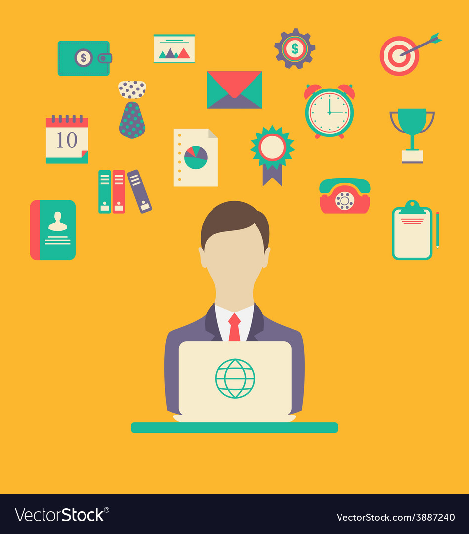 Designer work place work elements flat style vector   Price: 1 Credit (USD $1)