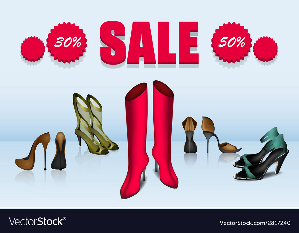 Five different shoes in sale vector | Price: 1 Credit (USD $1)