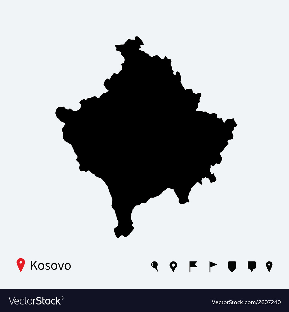 High detailed map of kosovo with navigation pins vector | Price: 1 Credit (USD $1)
