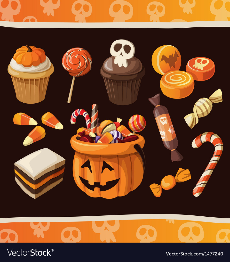Set of colorful halloween sweets and candies icons vector | Price: 3 Credit (USD $3)
