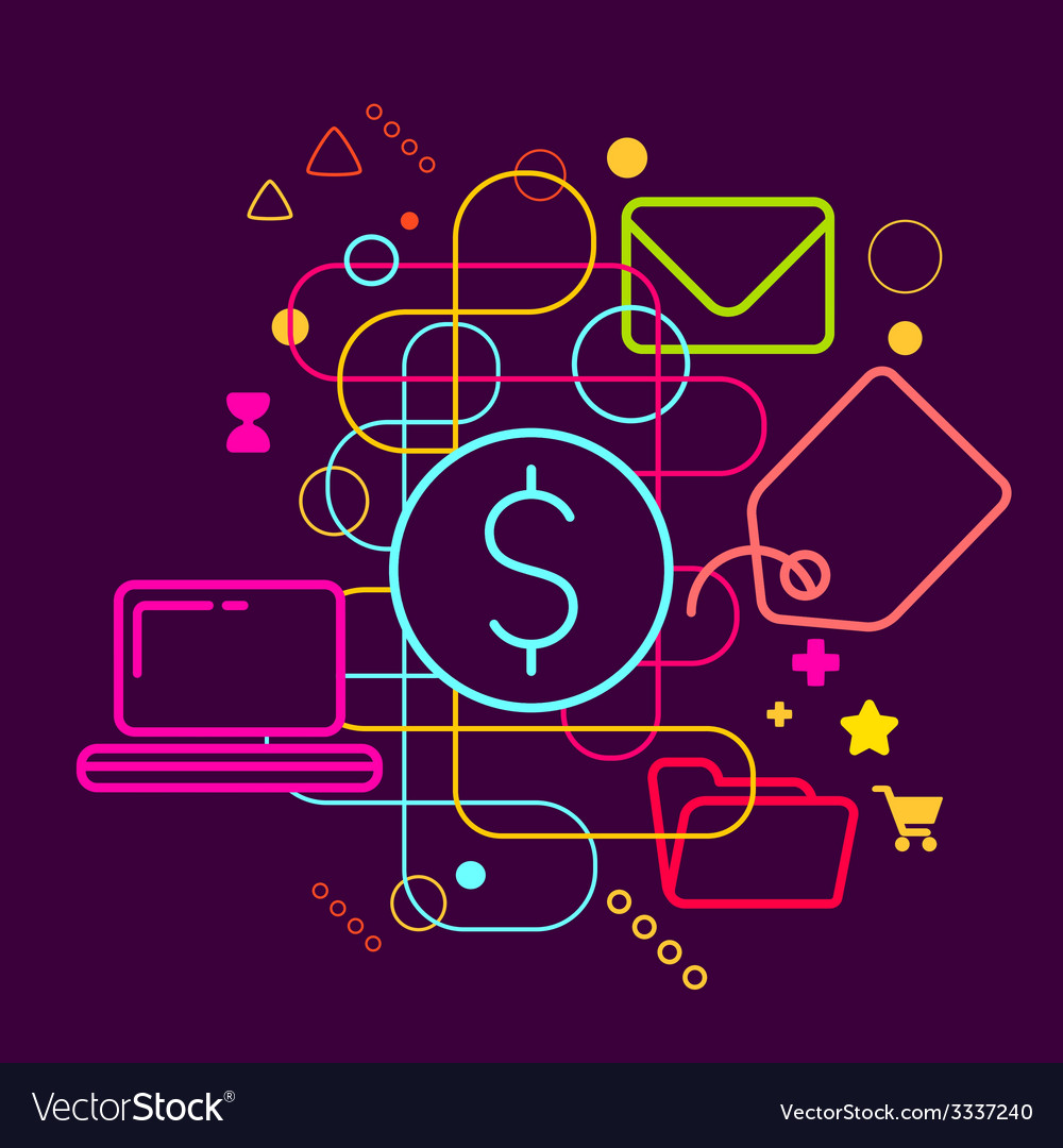 Symbols of purchasing via the internet on abstract vector | Price: 3 Credit (USD $3)