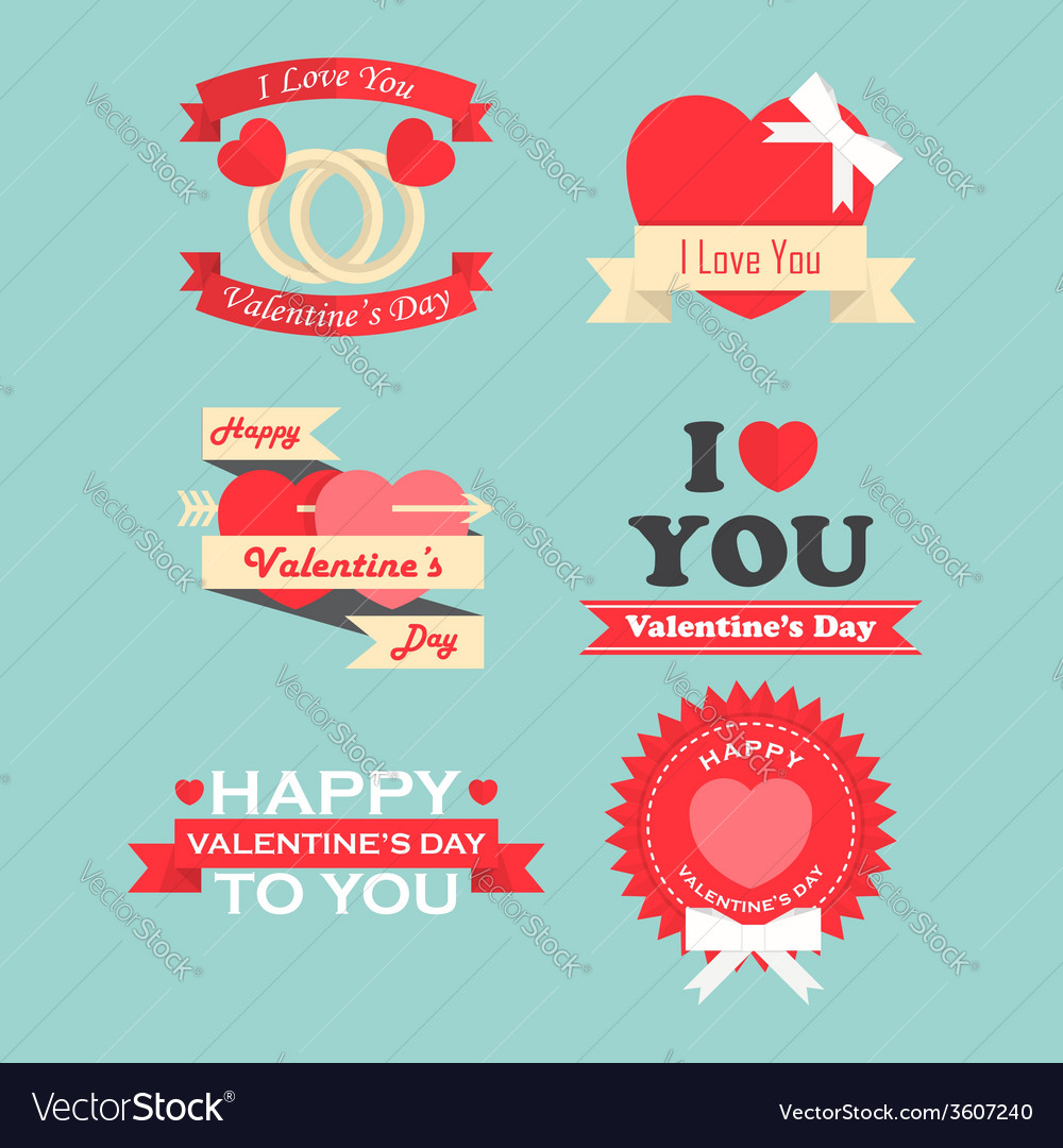 Valentine day labels icons elements and badges vector | Price: 1 Credit (USD $1)