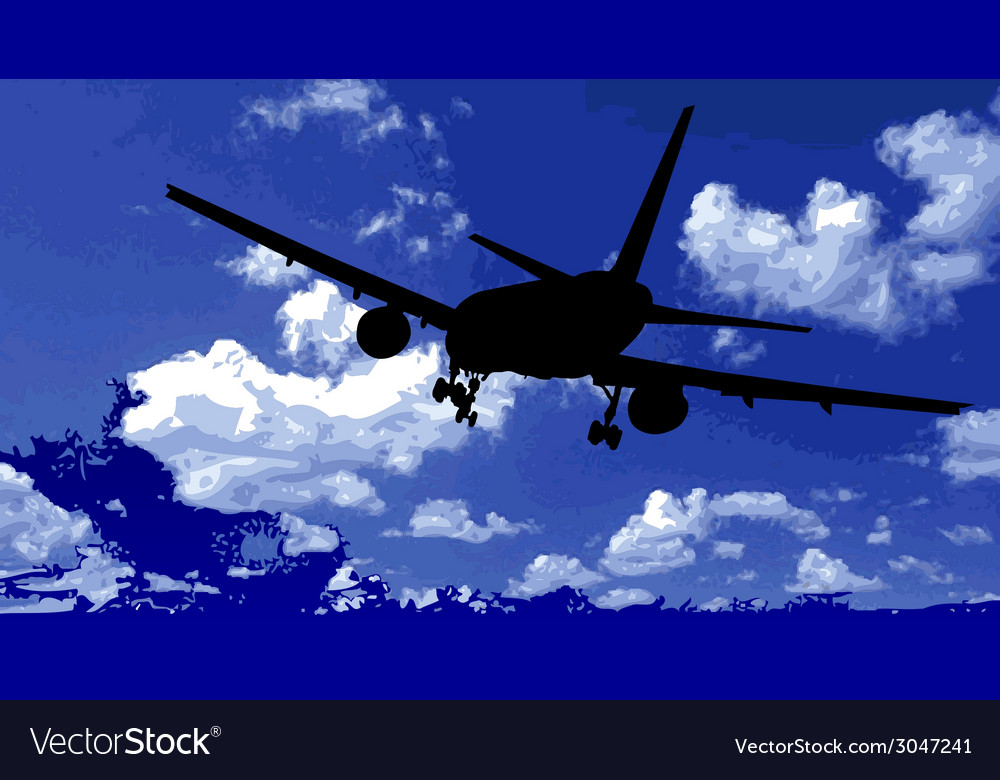 Airplane in the blue sky vector | Price: 1 Credit (USD $1)