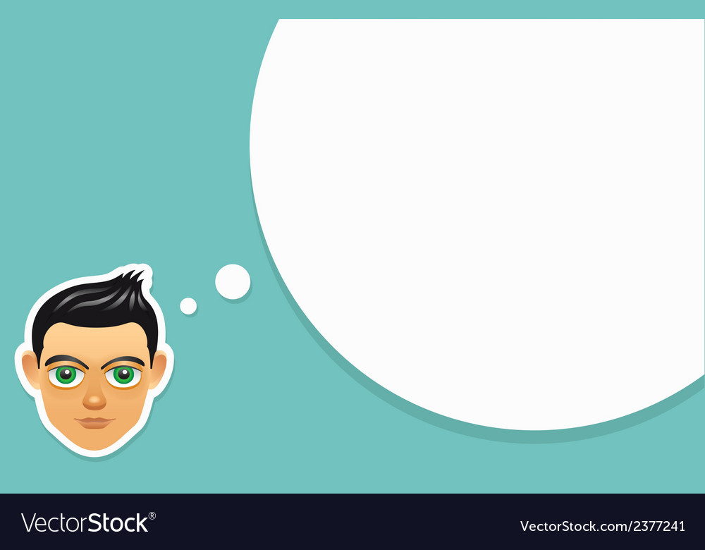 Boy face with think bubble vector | Price: 1 Credit (USD $1)