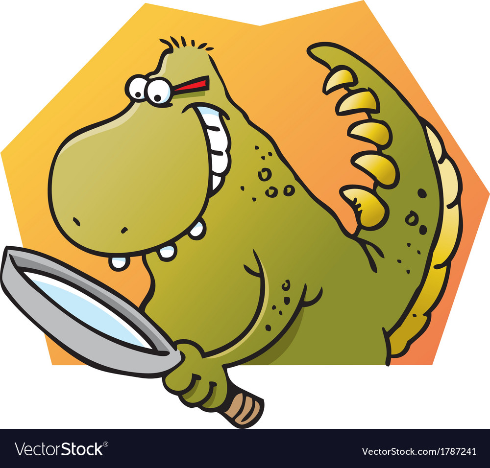 Cartoon dinosaur holding a magnifying glass vector   Price: 1 Credit (USD $1)