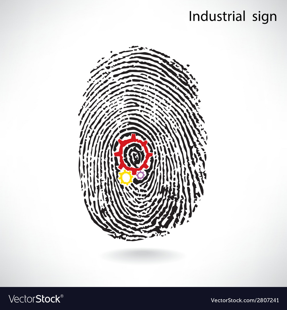 Creative gear idea concept with fingerprint symbol vector | Price: 1 Credit (USD $1)