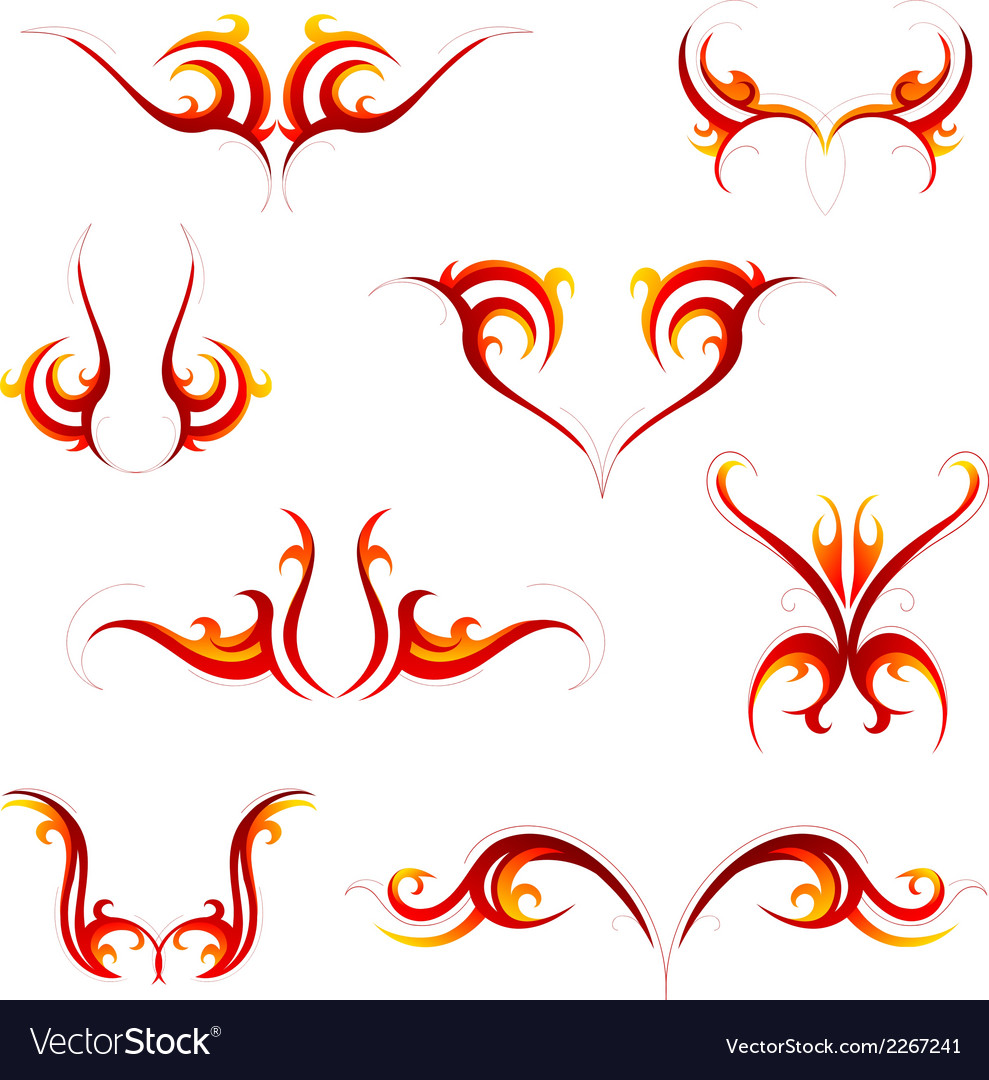 Fire tattoo set vector | Price: 1 Credit (USD $1)