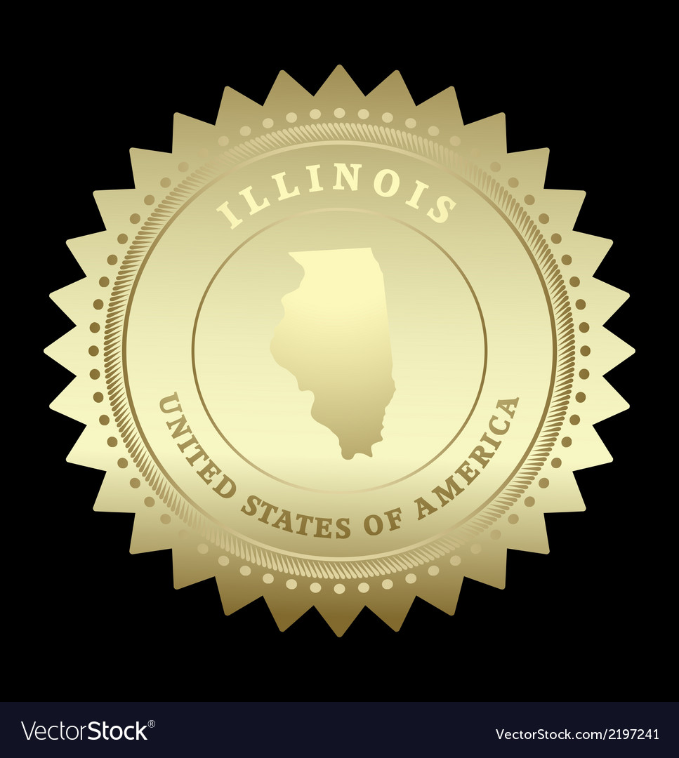 Gold star label illinois vector | Price: 1 Credit (USD $1)