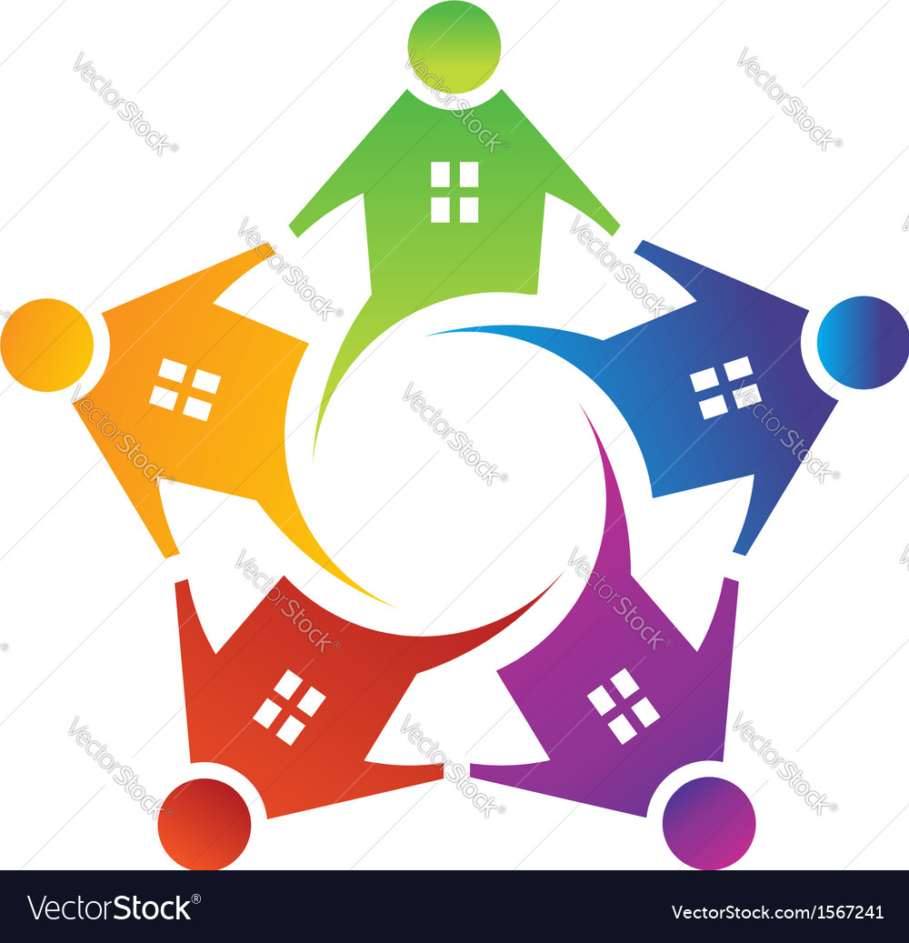 People house in circle logo vector