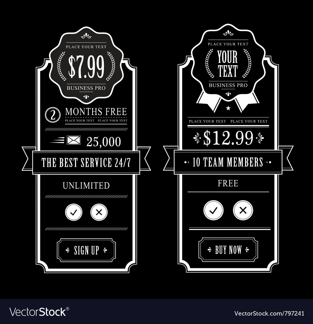 Price table vector | Price: 1 Credit (USD $1)
