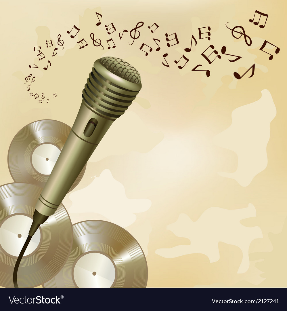 Retro microphone on music background vector | Price: 1 Credit (USD $1)