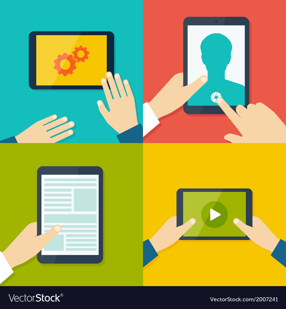 Tablet pc in human hands flat style vector | Price: 1 Credit (USD $1)