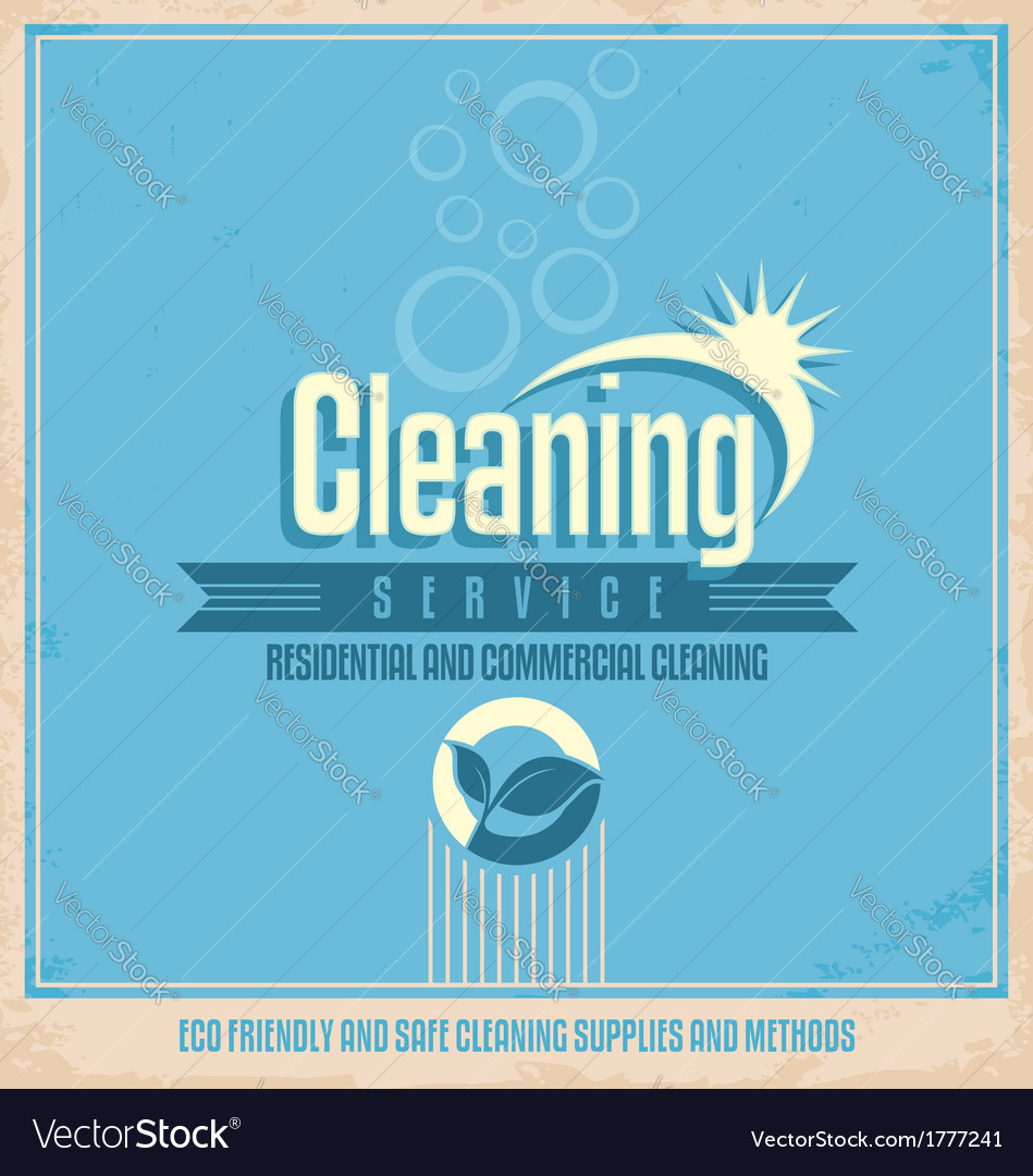 Vintage poster design for cleaning service vector | Price: 1 Credit (USD $1)
