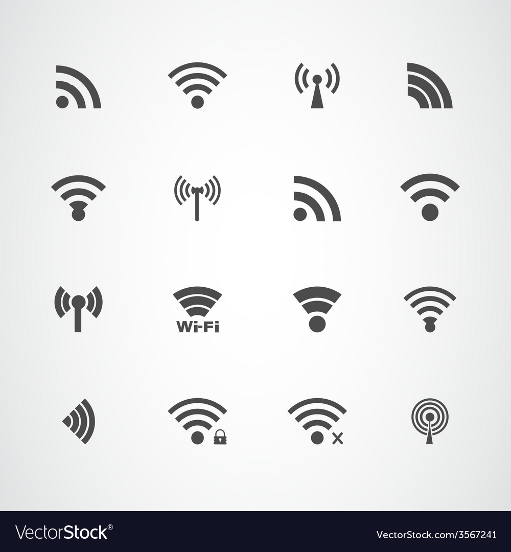 Wi fi icons set vector | Price: 1 Credit (USD $1)